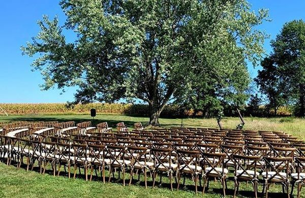 Antique Wooden x chairs for outdoor wedding