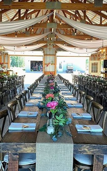 Wooden Cross Back Chair and farm table events