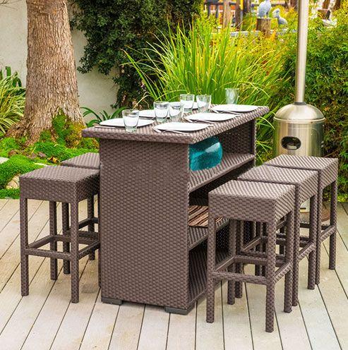 Rattan Bar Table and Chair
