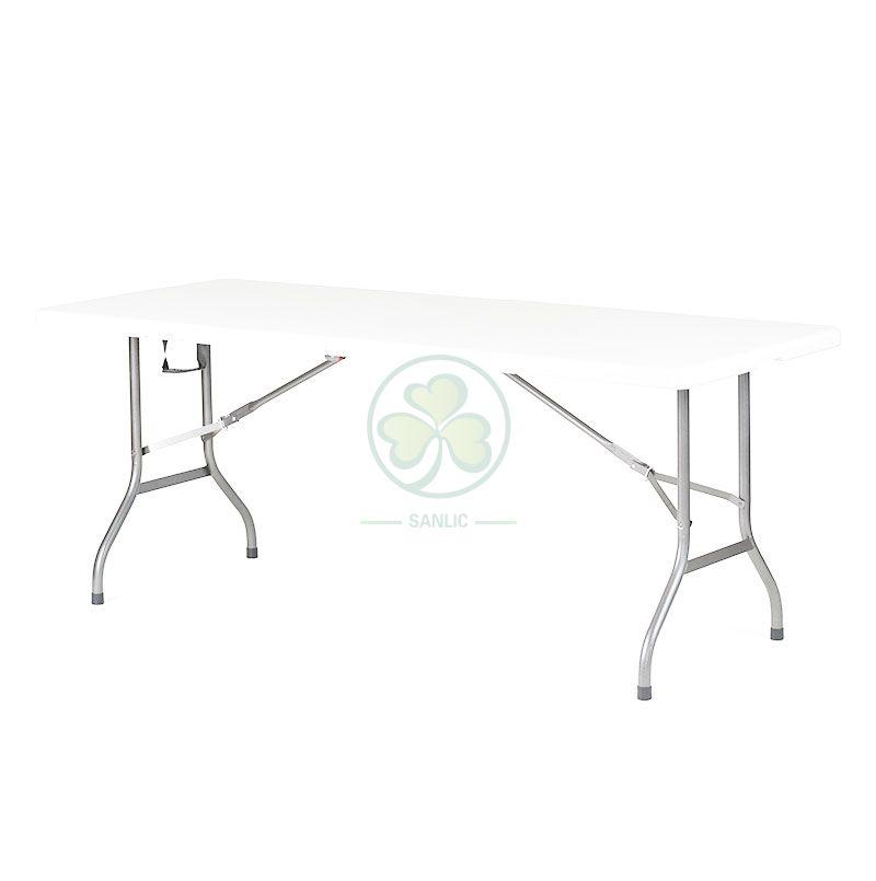 6FT Plastic Rectangular Fold-In-Half Table T4.5