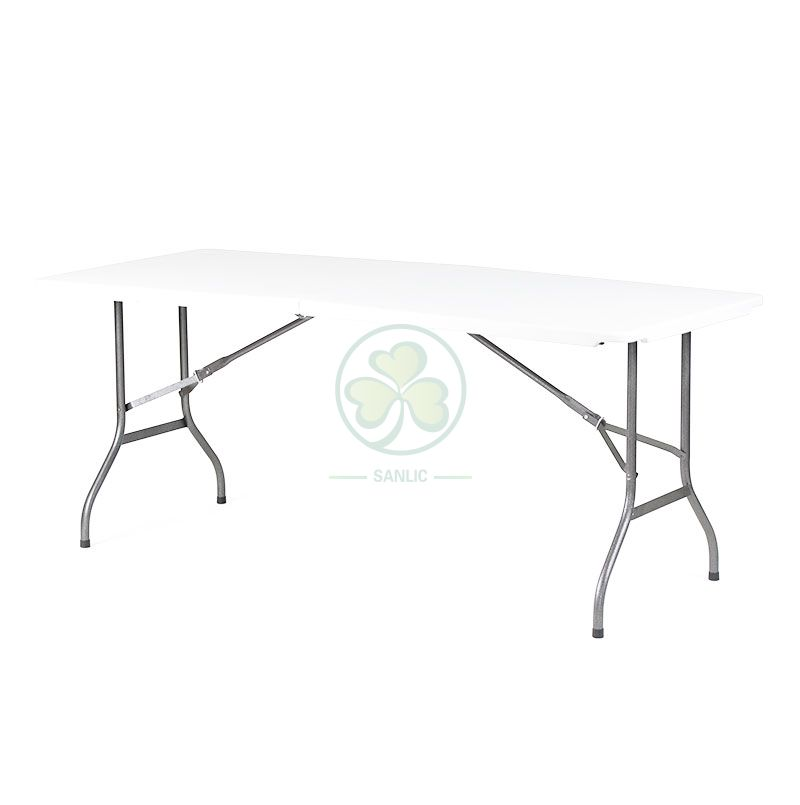 6FT Plastic Rectangular Fold-In-Half Table T4.0