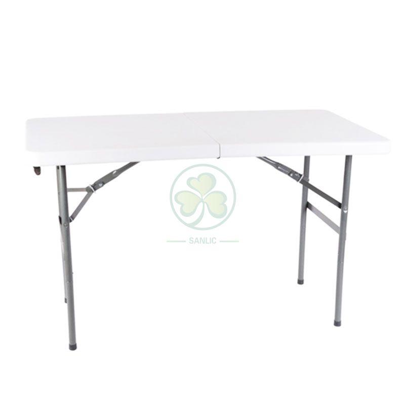 4FT Plastic Rectangular Fold-In-Half Table