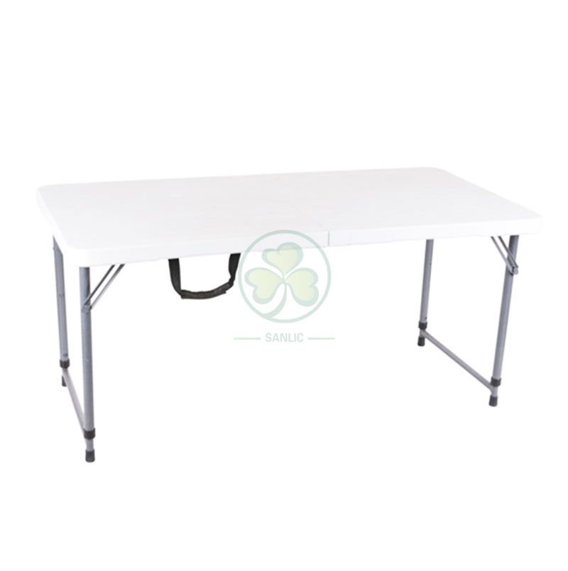 4FT Adjustable Fold-In-Half Table with Lock