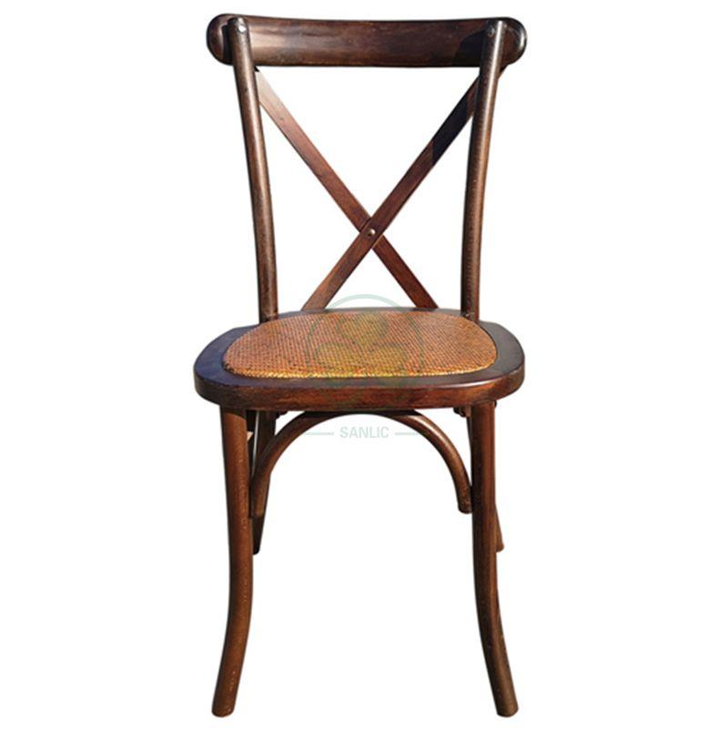 Popular Dark Wood X Back Chair with Rattan Seat for Event Rental SL-W1802RGXB