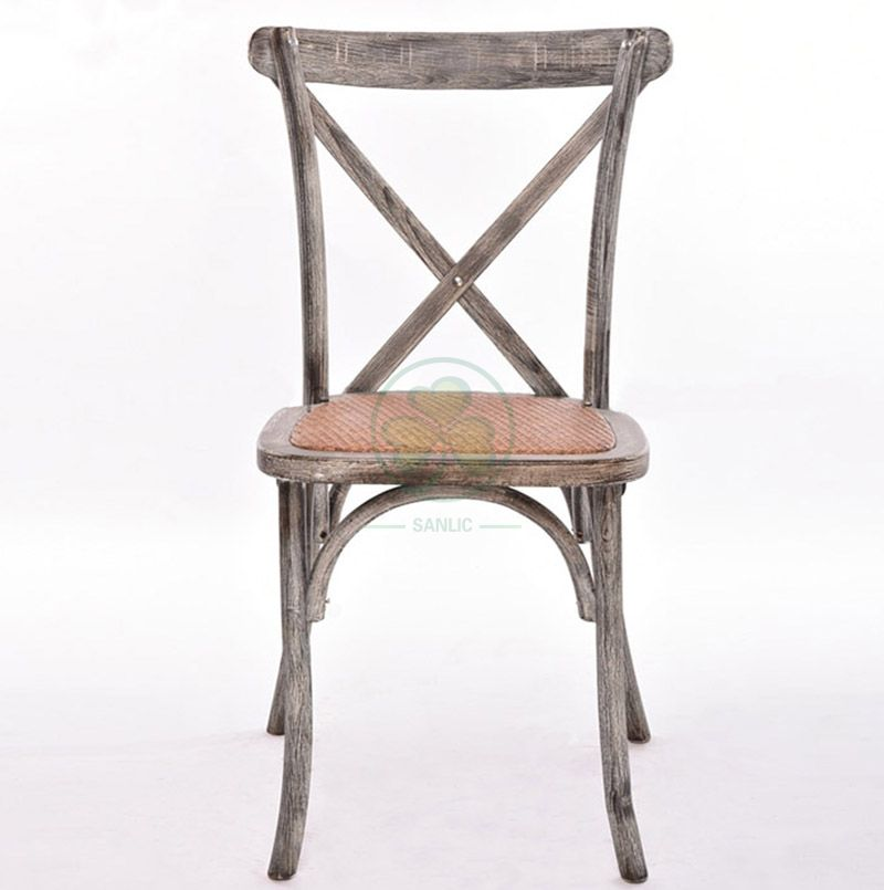 Customized French Stackable Wedding Crossback Chairs   SL-W1804RGXB