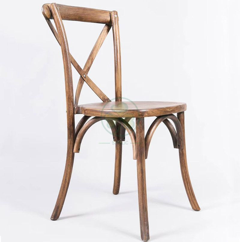Resturant Solid Elm Wood Cross Back Dining Chair SL-W1812RGXB