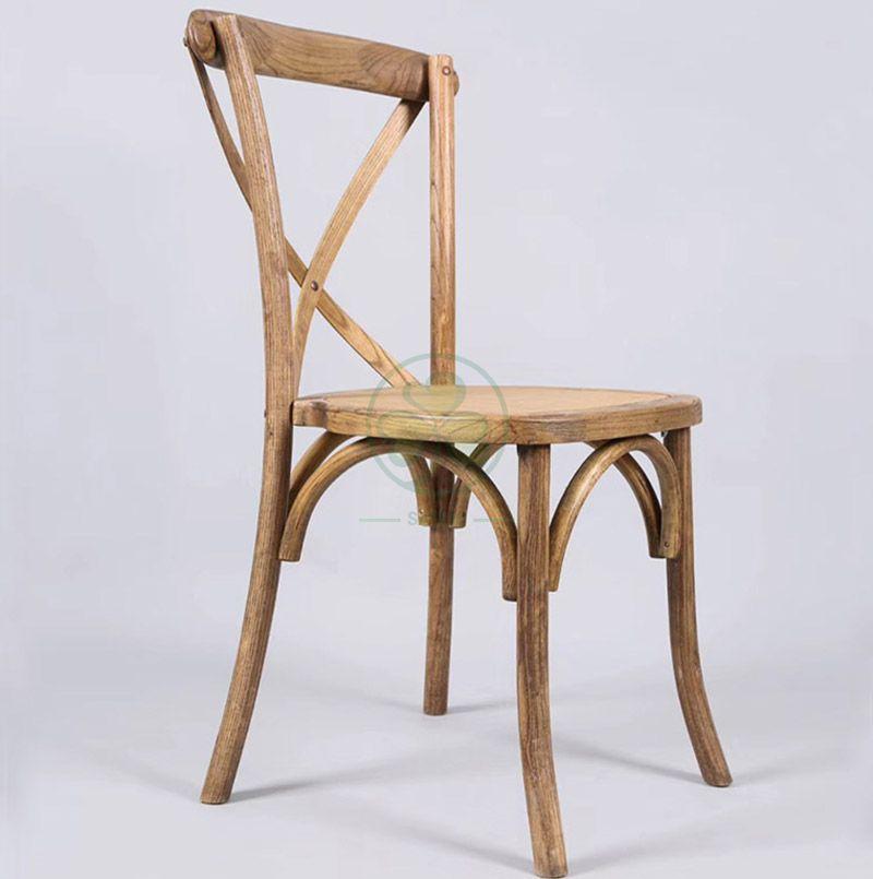 Wholesale Rustic Elm Wood Crossback Dining Chair   SL-W1811RGXB