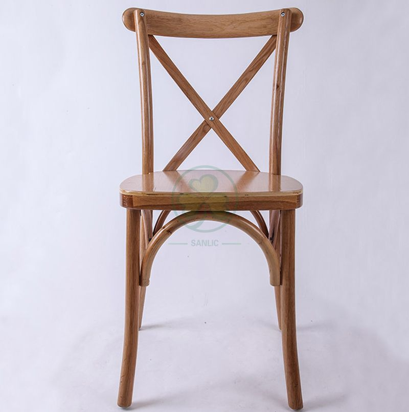 Event Rental Fruitwood Wooden X Back Chair SL-W1822RGXB