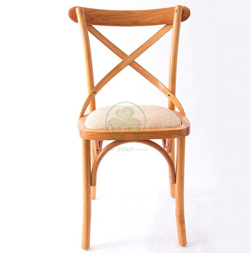 Outdoor Natural Color Wood Cross Back Dining Chair   SL-W1820RGXB