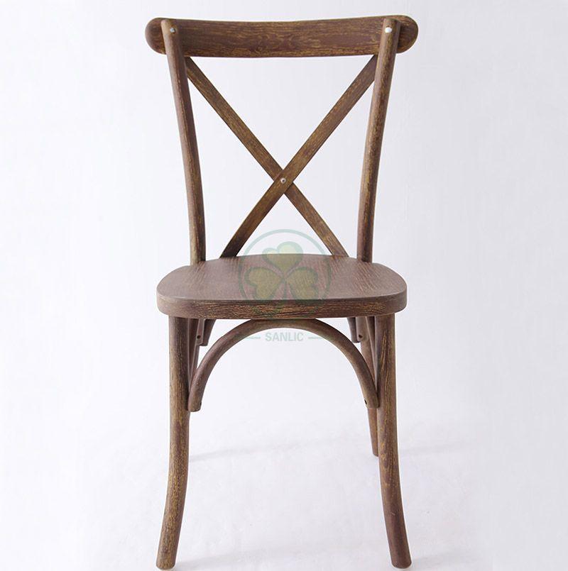 New Trending Rustic Oak Wood Cross Back Dining Chair SL-W1823RGXB