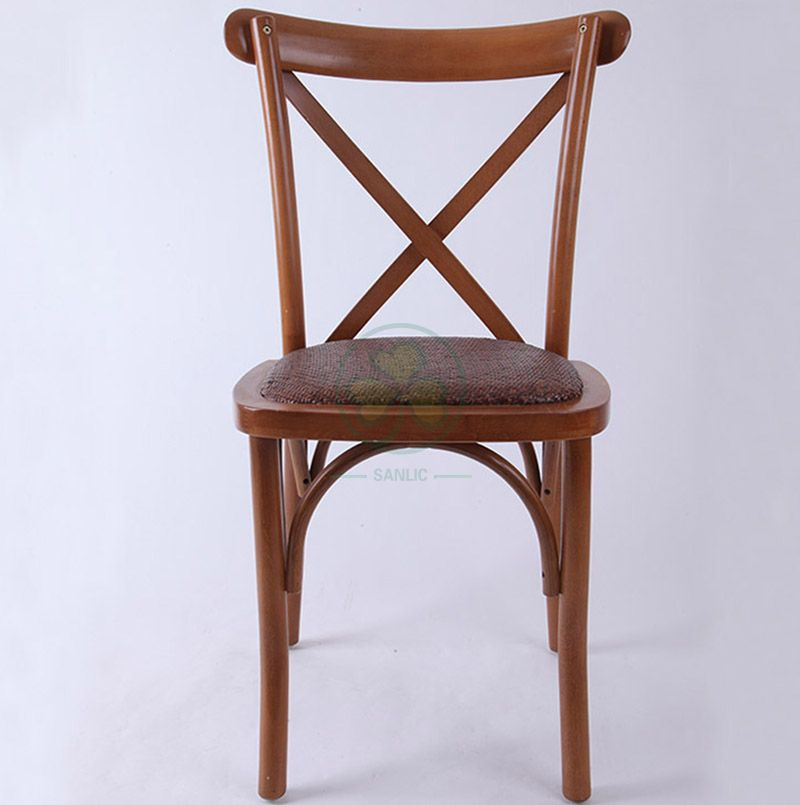 Outdoor Stackable Cross Back Chair with Rattan Seat  SL-W1827RGXB