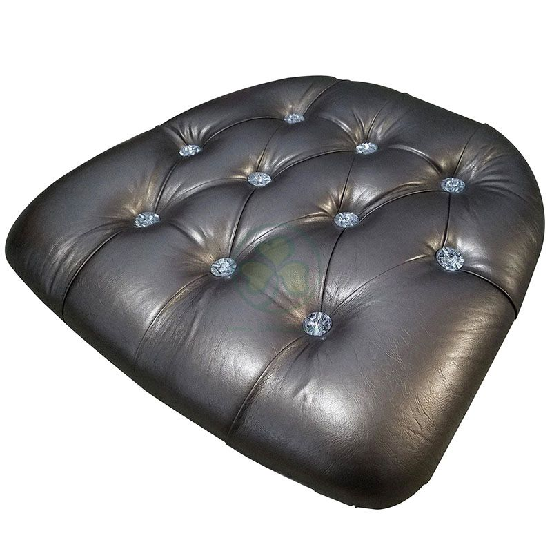 Bespoke Hard Faux Leather Diamonded Chair Cushion with Velcros  SL-F1922HFDV