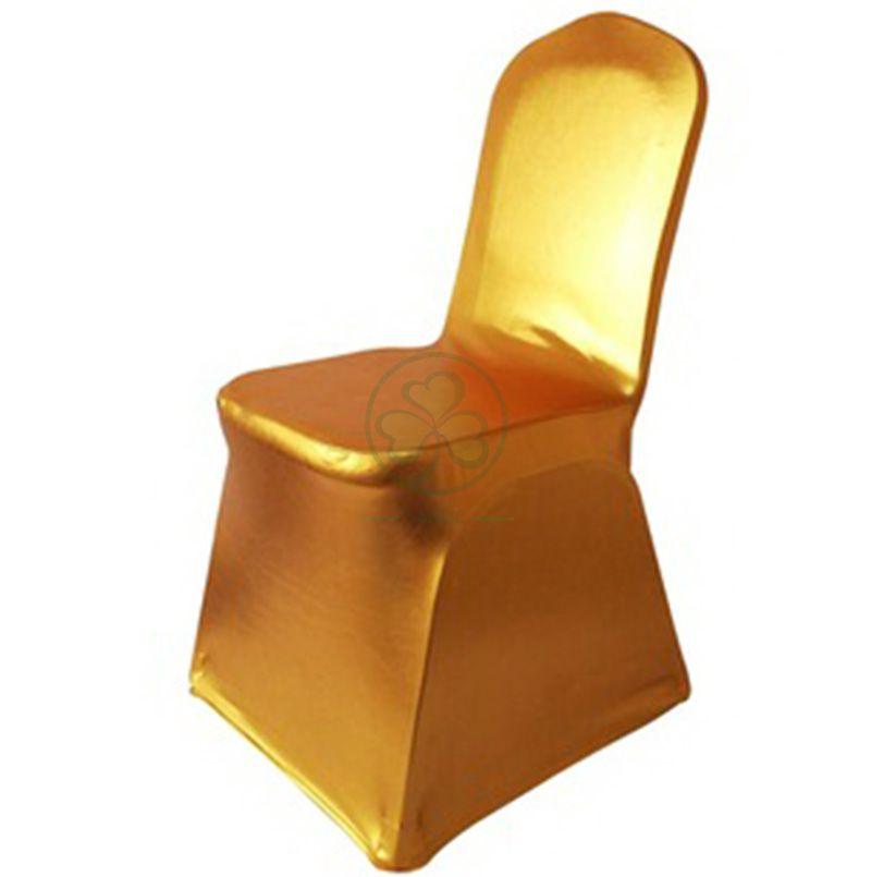Popular Spandex Metallic Glittering Gold Shiny Dining Chair Cover SL-F1943SMCC