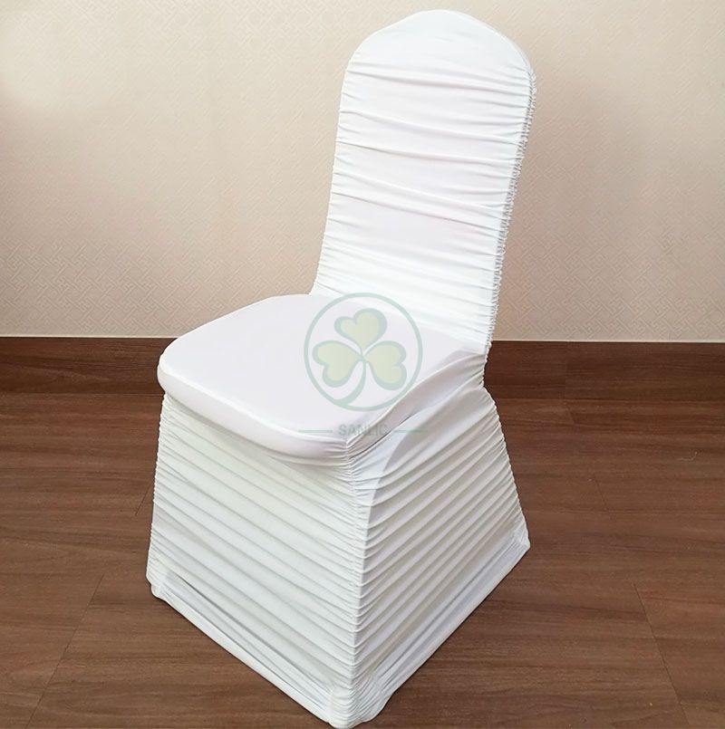 Wholesale Ruched Fashion Spandex Banquet Chair Cover in White SL-1947RSBC