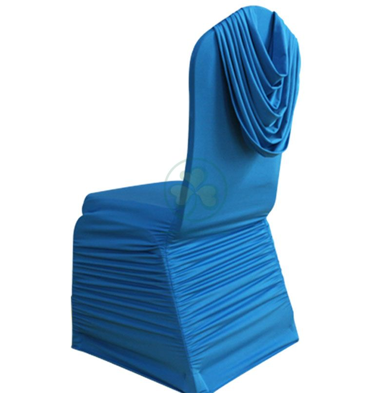 Wholesale Wrinkled Elastic Chair Cover for Wedding with Drape on Back SL-F1950WEWC