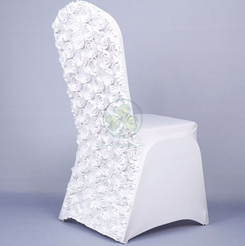 Buy White Satin Rosette Stretch Banquet Spandex Chair Cover SL-F1954SRBC