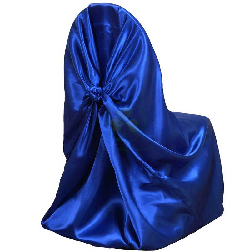 Hotel Wedding Banquet Satin Self-Tie Universal Chair Cover Royal Blue  SL-F1958USBC