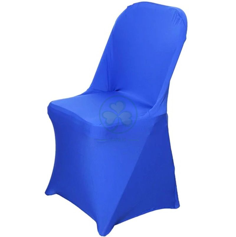 Popular Polyester Spandex Foldable Wedding Chair Covers for Sale Royal Blue SL-F1966SSFC