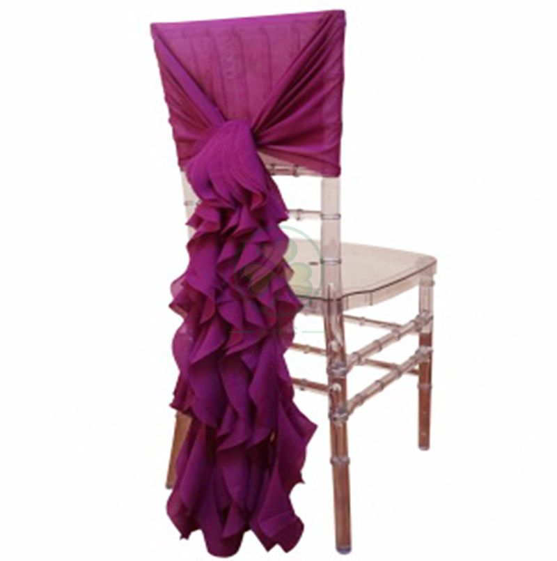 Direct Factory Elegant Chiffon Ruffle Chair Covers Sash with Curly Waterfall Hoods SL-F1971CFSC