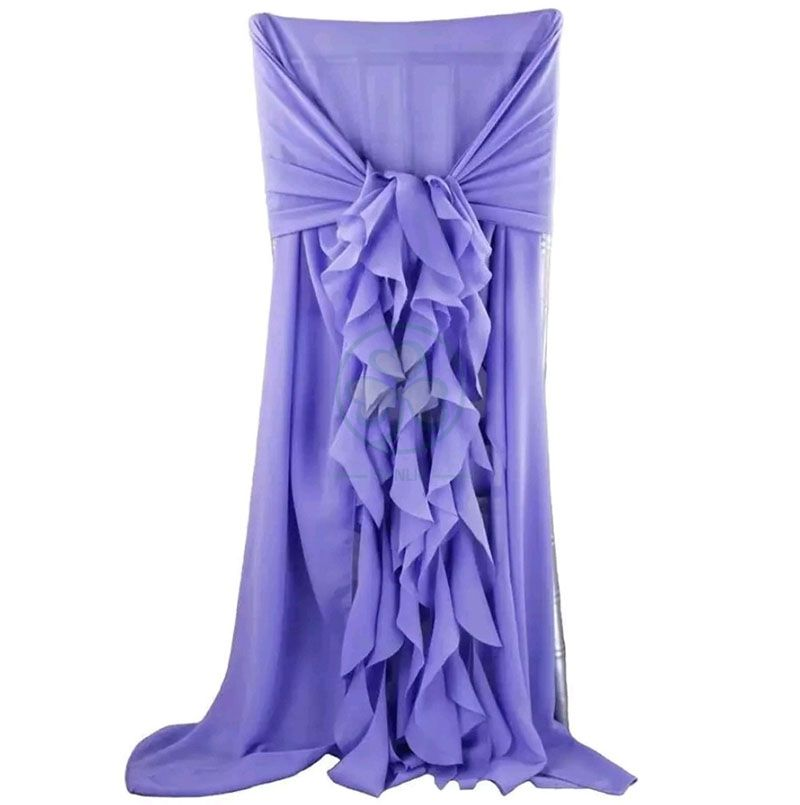 Christmas Decoration Chiffon Chair Cover with Curly Willow Sash  SL-F1972CDDC