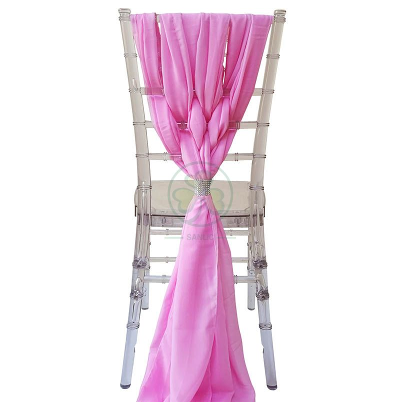 Pink Fancy Chiffon Chiavari Chair Cover Sash with Buckle SL-F1974FCCC