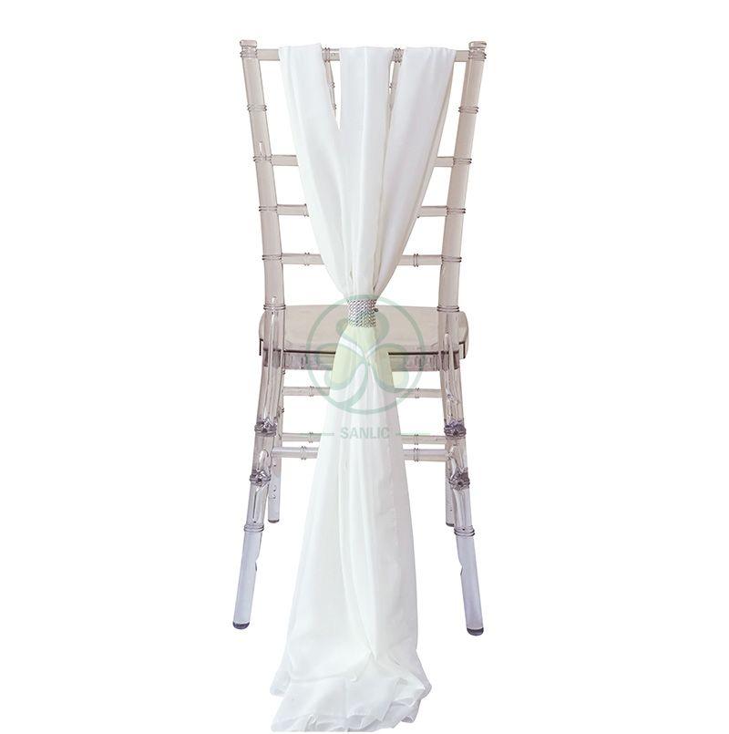 DIY Outdoor Chiffon Wedding Chair Back Sash Decoration for Chiavari Chair SL-F1975CWCS