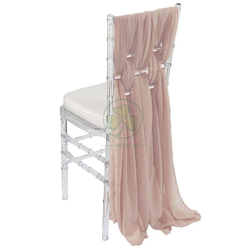 Popular Wedding Event 3pcs/4pcs/6pcs Set Chiffon Chair Sash Decorative Cover  SL-F1976CCSC