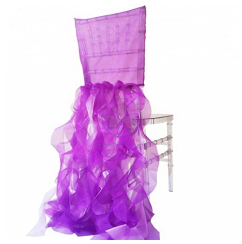Wholesale Popular Fancy Organza Curly Willow Ruffled Wedding Chair Covers SL-F1977FORC