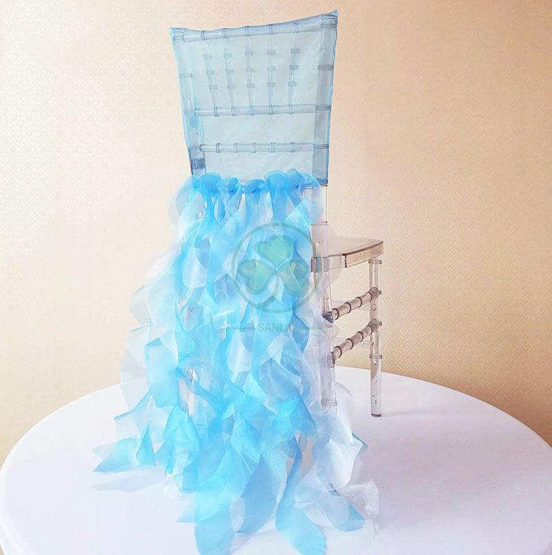 Organza Ruffled Party Chair Covers China Wedding Chair Covers Sashes SL-F1978FORC