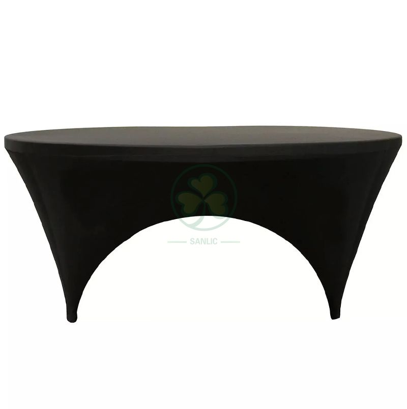 Hot Sale Stretch Spandex 6ft Round Sides Open Table Cover Black SL-F1994SOTC