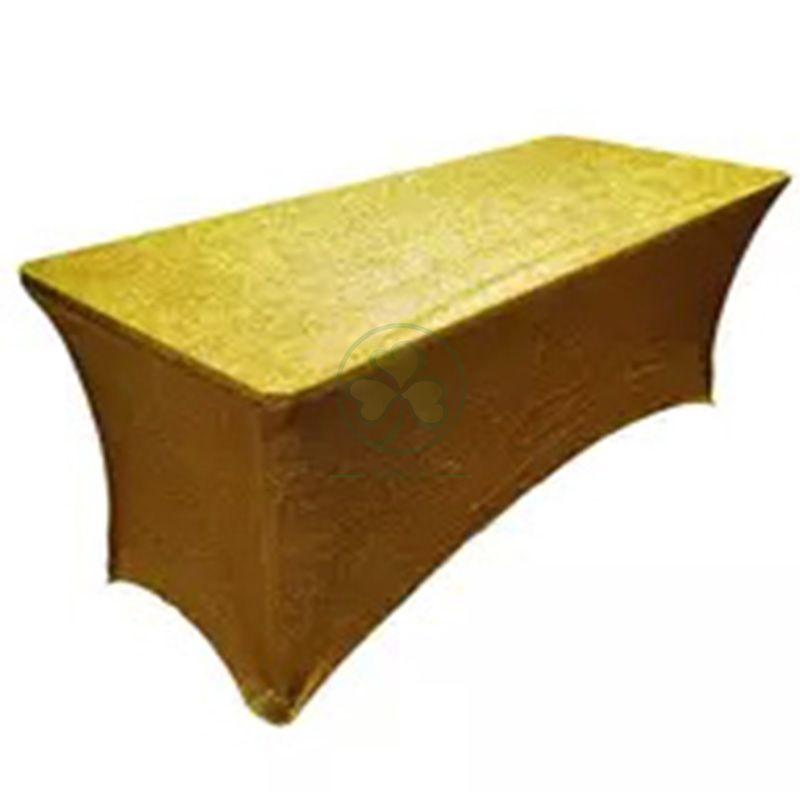 Shiny Glittered Gold Metallic Spandex Rectangular Table Cover SL-F2004GMRT