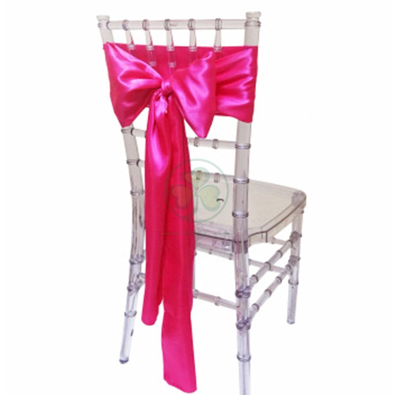 Wholesale Cheap Satin Chair Decoration Wedding Satin Chair Sashes Bow Sash SL-F2039SWCS