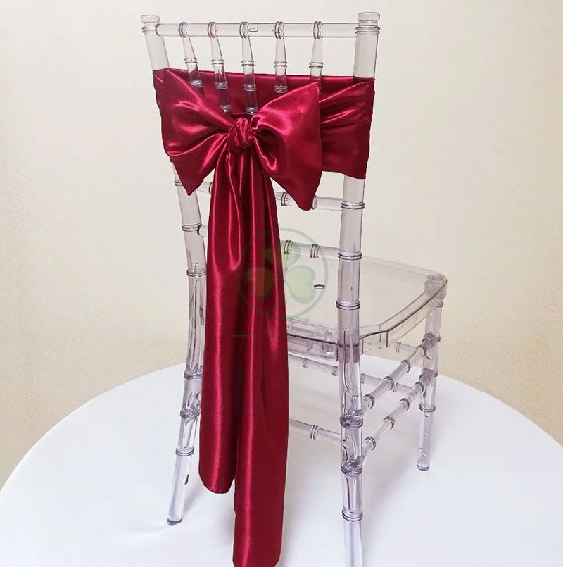 Wedding Party Decoration Burgundy Chair Sashes Plain Satin Chair Tie For Banquet Folding Chairs  SL-F2040WSCS