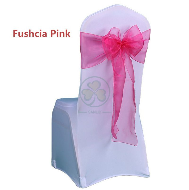 Romantic Fushcia Wedding Organza Chair Sashes SL-F2042WOCS