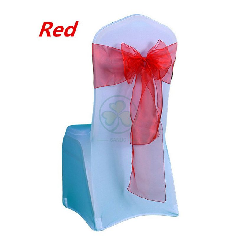 Direct Factory Red Organza Chair Sashes for Wedding Banquet Chairs SL-F2043ROCS