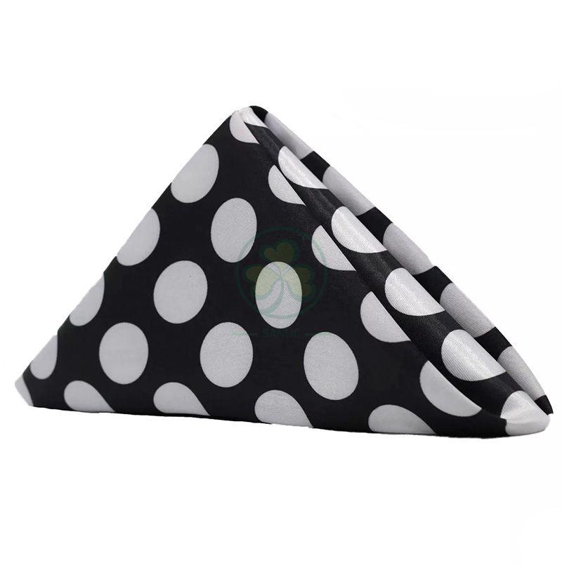 20 Inch Satin Cloth Napkins Black and White Polka Dots SL-F2051SNPD