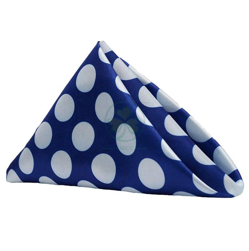 New Fashionable Satin Cloth White and Blue Polka Dots Wedding Napkins, for Restaurant, Bistro, Wedding, Thanksgiving and Christmas  SL-F2052FSTN