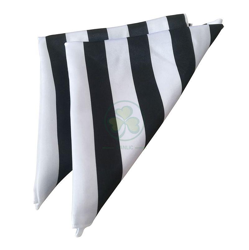 Factory Wholesale 20 Inch Satin Cloth Napkin Black and White Striped SL-F2053SSCN