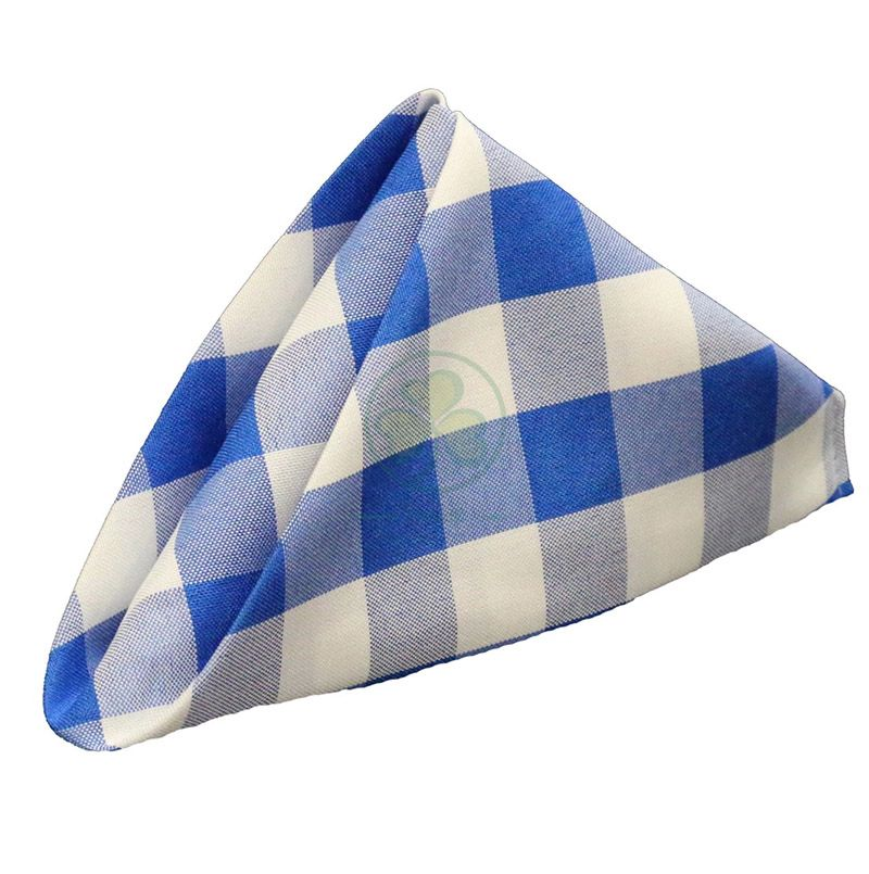 Classic Washable Buffalo Plaid Cotton Table Napkins Royal Blue and White Checkered Gingham for Family Dinners, Special Occasions, Barbeques, Picnics and Everyday Use SL-F2055CCTN
