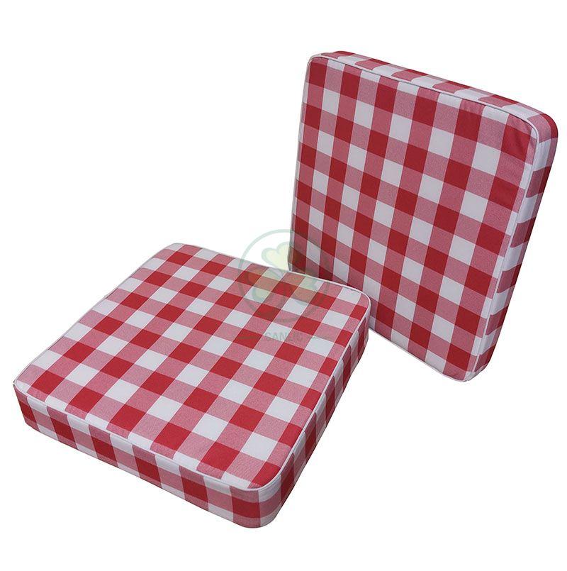 Wholesale Custom Checkered Gingham Outdoor Patio Chair Cushions Baffalo Plaid White and Red Deep Seat Patio Cushions SL-F2066OPCC