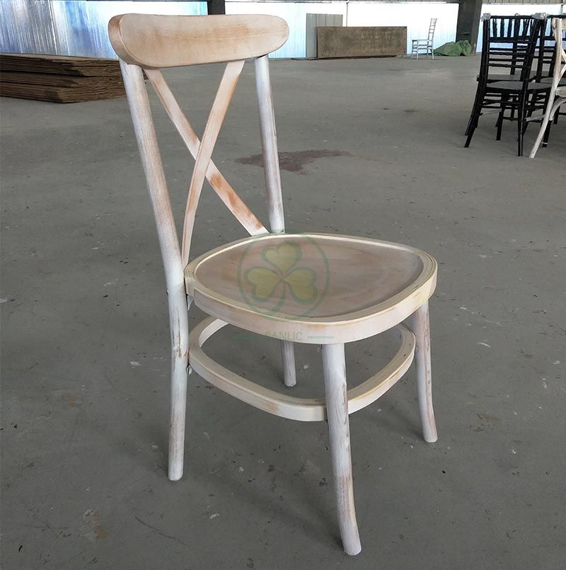 Custom Limewash Tuscan Cross Back Dining Chairs for Outdoor or Indoor Events SL-W1836WLTC