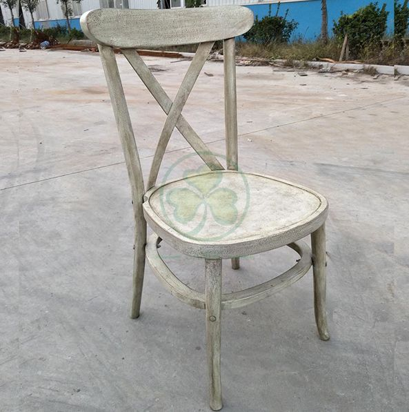Bespoke Farmhouse Vintage Wooden Tuscan Crossback Dining Chair in White Distressed for Outdoor Events and Weddings SL-W1836BWTC