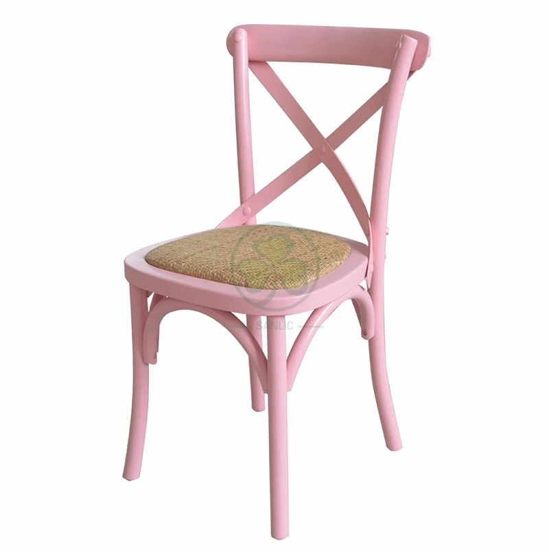 Pink Wooden Kids X-Back Chair with Rattan Seat SL-W1841PWKC