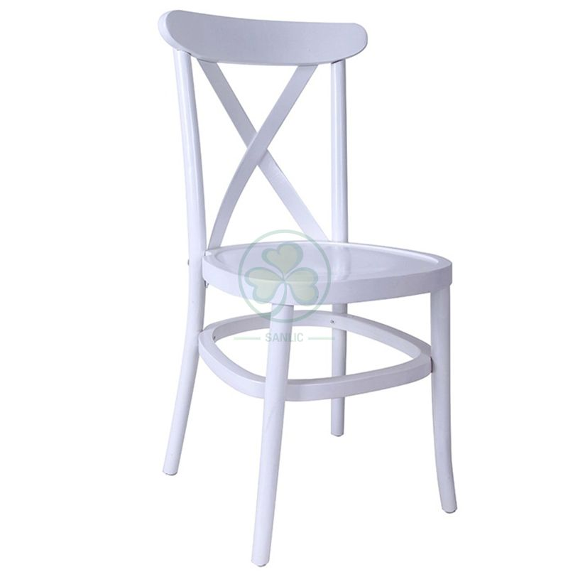 White Wooden Tuscan Cross Back Chair SL-W1841WTCB
