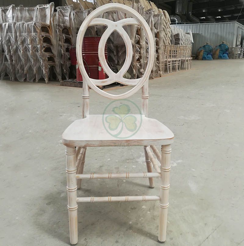 Best Popular Limewash Wooden Phoenix Chair with Chanel CC Back for Outdoor and Indoor Banqets Weddings and Events SL-W1849LWPC