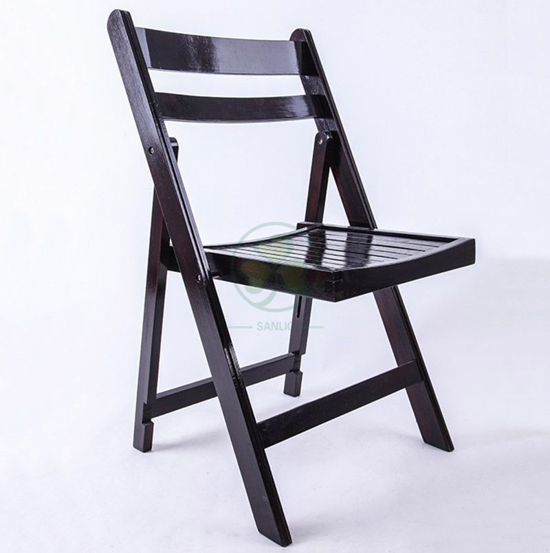 Factory Price Black Wooden Slatted Folding Chair for Hotels Resturants Banquets and Other Occasions SL-W1872BWSC