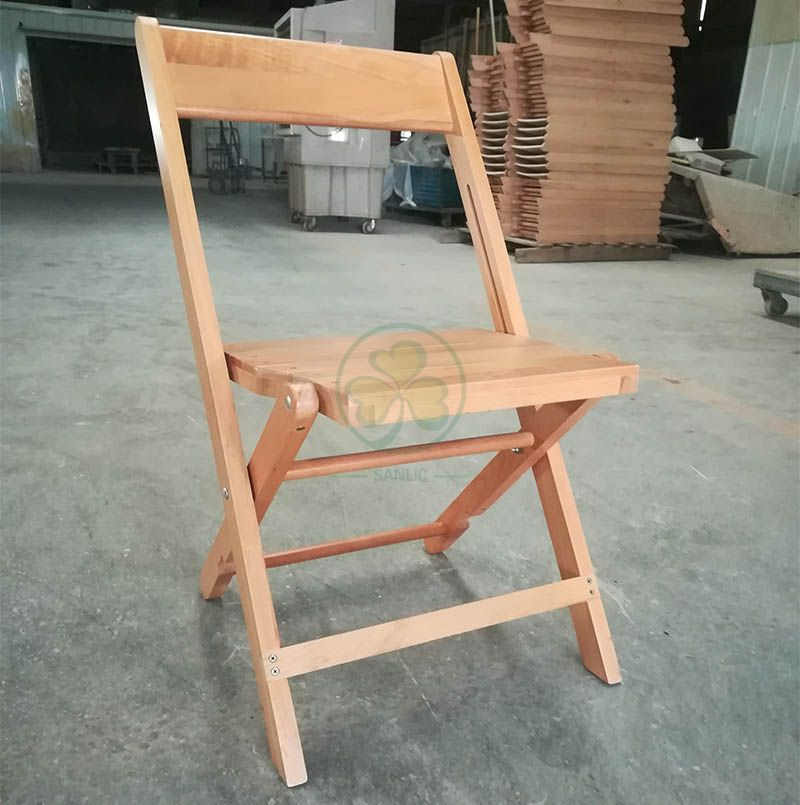 1942 Natural Slatted Wooden Foldable Chair for Outdoor or Indoor Events SL-W1879NWFC