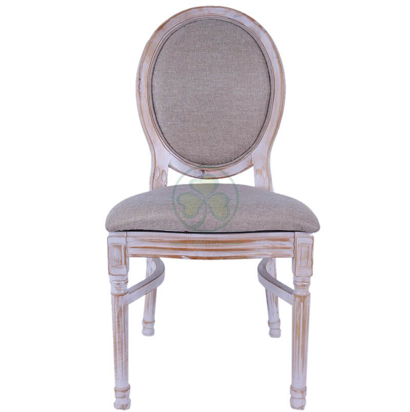 Hot Sale Linen Fabric French Wooden Louis Dining Chair for Hotels Halls Cafes or Indoor and Outdoor Parties Events SL-W1896LWLC