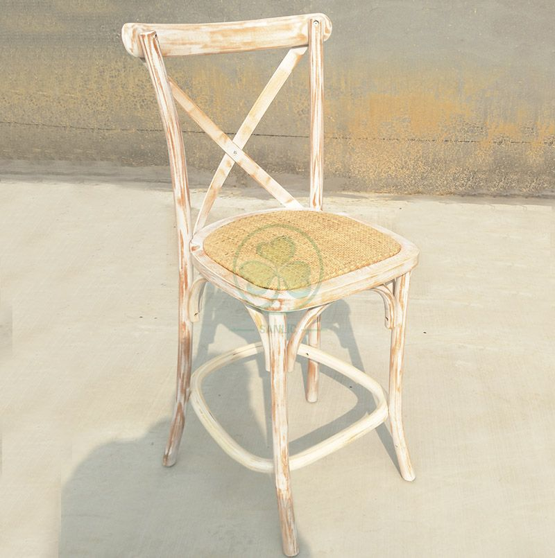 Hot Sale French Style Wooden Bistro Bar Stool with Rattan Seat for Cafes, Social Events, Parties or Home SL-W1916FBBS