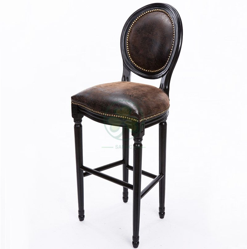 Hot Selling Wooden Louis Bar Stools with PU Seat and Back SL-W1927WLBS